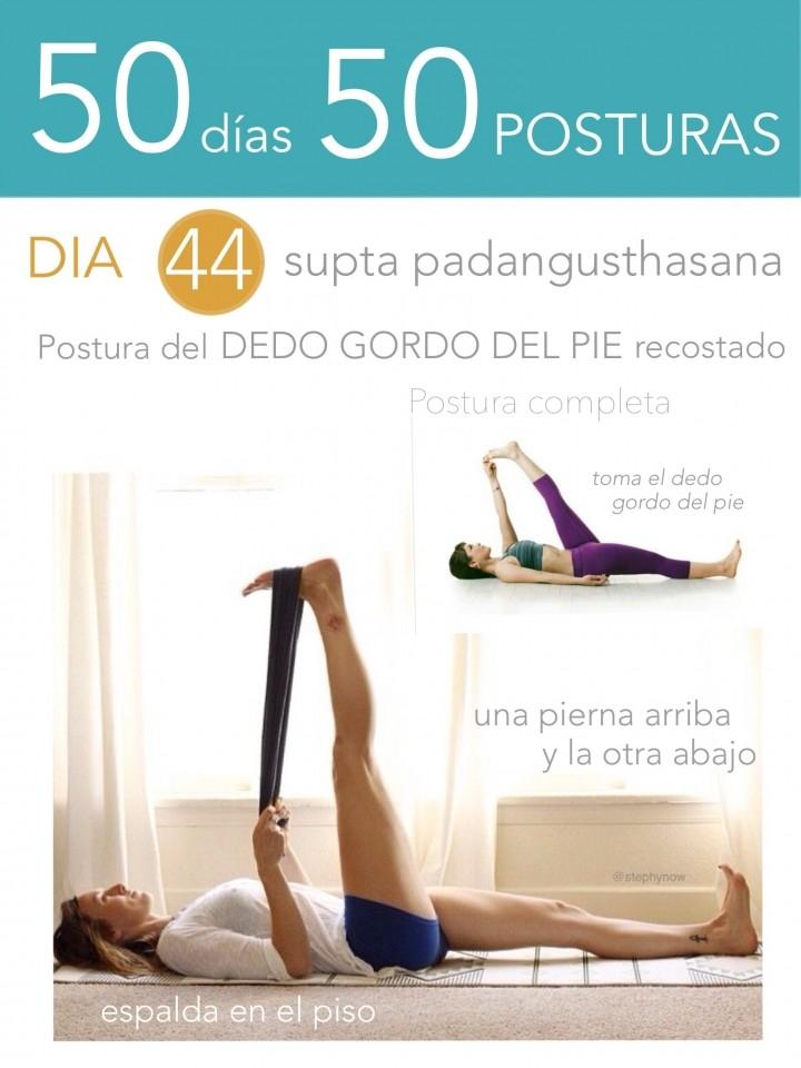 50 días 50 posturas. Día 44. Postura del dedo gordo del pie recostado.
